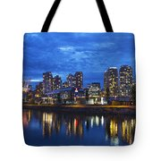 Vancouver Bc City Skyline With Bc Place At Blue Hour Tote Bag