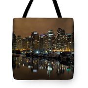 Vancouver Bc Skyline From Stanley Park At Nigh Tote Bag