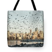 Vancouver Skyline With Crows Tote Bag
