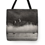 Vancouver Skyline With Fog Over English Bay Tote Bag