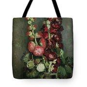 Vase Of Hollyhocks Tote Bag