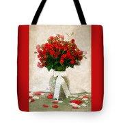 Vase Of Red Roses Tote Bag
