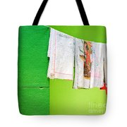 Vase Towels And Green Wall Tote Bag
