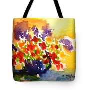 Vase With Multicolored Flowers Tote Bag