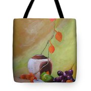 Vase With Orange Leaves And Fruit Tote Bag