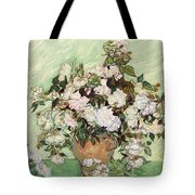 Vase With Pink Roses Tote Bag