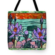 Vector Illustration Of Flower Sunflower In Stained Glass Window  Tote Bag