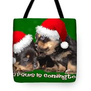 Vector Santa Paws Is Coming To Town Christmas Greeting Tote Bag