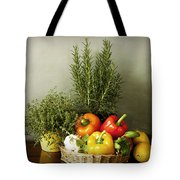 Vegetables And Aromatic Herbs In The Kitchen Tote Bag