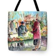 Vegetables Seller In A Provence Market Tote Bag