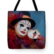 Venetian Carnival - Portrait Of Clown With Mask Tote Bag