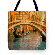 Venice Boat Bridge Oil On Canvas Tote Bag