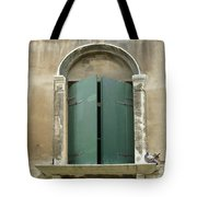 Venice Green Shutters With Birds Tote Bag