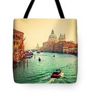 Venice Italy Grand Canal And Basilica Santa Maria Della Salute At Sunset Tote Bag