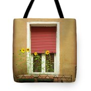 Venice Italy Yellow Flowers Red Shutter Tote Bag