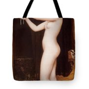 Venus Binding Her Hair Tote Bag
