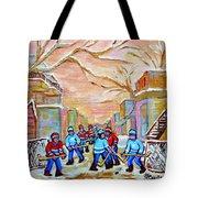 Verdun Back Lane Hockey Practice Montreal Winter City Scen Painting Carole Spandau Tote Bag
