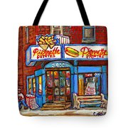 Verdun Famous Restaurant Pierrette Patates - Street Hockey Game At 3900 Rue Verdun - Carole Spandau Tote Bag