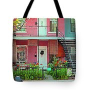 Verdun Flower Boxes Pink House Fenced Front Garden Red Flowers Staircase Scenes Carole Spandau Tote Bag