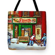 Verdun Hockey Game Corner Landmark Restaurant Depanneur Pierrette Patate Winter Montreal City Scen Tote Bag by Carole Spandau