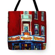 Verdun Landmarks Pierrette Patates Resto Cafe  Deli Hot Dog Joint- Historic Marquees -montreal Scene Tote Bag