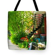 Verdun Stairs Red Flowers On Winding Staircase Tall Shade Tree Montreal Summer Scenes Carole Spandau Tote Bag