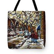 Verdun Winter Row Houses In January Montreal Paintings Time For A Walk Carole Spandau Tote Bag