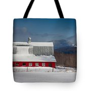 Vermont Barn In Snow With Mountain Behind Tote Bag