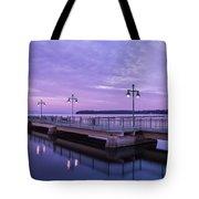 Vermont Lake Champlain Sunrise Clouds Fishing Pier Tote Bag