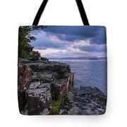 Vermont Lake Champlain Sunset Clouds Shoreline Tote Bag