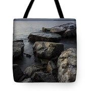 Vermont Lake Champlain Sunset Cloudscape Rocks Tote Bag