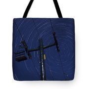 Vermont Night Sky Skiing Star Trails Tote Bag