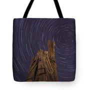 Vermont Night Star Trail Wood Pier Tote Bag