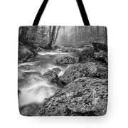 Vermont River Fog Mount Mansfield Black And White Tote Bag