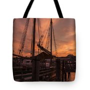 Vermont Sunrise Boats Pier Lake Champlain Tote Bag