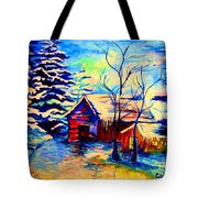 Vermont Winterscene In Blues By Montreal Streetscene Artist Carole Spandau Tote Bag