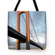 Verrazano Bridge At Sunrise - Verrazano Narrows Tote Bag