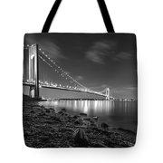 Verrazano-narrows Bridge Bw Tote Bag