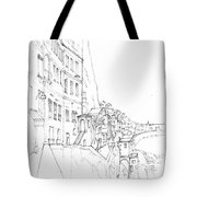 Vertical Amalfi Pencil And Ink Sketch Tote Bag