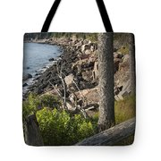 Vertical Photograph Of The Rocky Shore In Acadia National Park Tote Bag