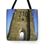 Vertical View Of Glastonbury Tor Tote Bag