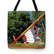 Very Large Pipestone Pipe Sculpture By Former Rock Island Line Railroad Depot In Pipestone-minnesota Tote Bag