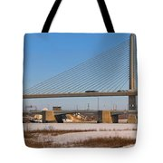 Veterans Glass City Skyway Pano Tote Bag