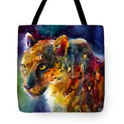 Vibrant Watercolor Leopard Wildlife Painting Tote Bag