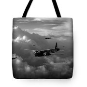 Vickers Wellingtons No 75 Squadron Black And White Version Tote Bag