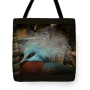 Victoria Crowned Pigeon In Tribal Decor Tote Bag