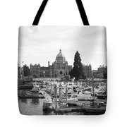 Victoria Harbour With Parliament Buildings - Black And White Tote Bag by Carol Groenen