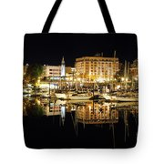 Victoria Inner Harbour At Night Tote Bag