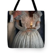 Victorian Couple At Night With Candle Tote Bag