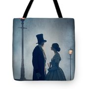 Victorian Couple At Nighttime Under Gas Lights  Tote Bag
